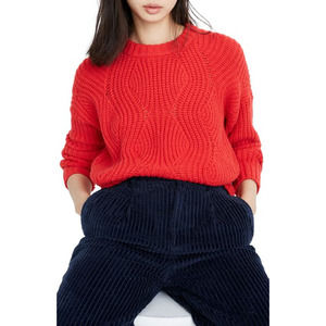 Madewell Everett Cable Knit Chunky Sweater Red NWT